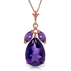ALARRI 14K Solid Rose Gold Necklace w/ Natural Purple Amethysts