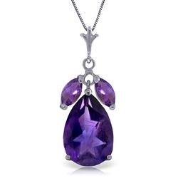 ALARRI 6.5 Carat 14K Solid White Gold Enduring Flame Amethyst Necklace
