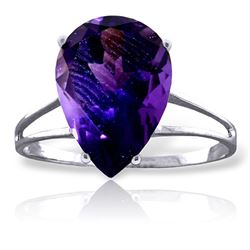 ALARRI 5 Carat 14K Solid White Gold Playing Cards Amethyst Ring