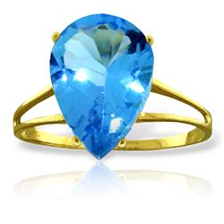 ALARRI 5 Carat 14K Solid Gold Loving Stir Blue Topaz Ring
