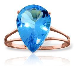 ALARRI 5 Carat 14K Solid Rose Gold Sensuality Blue Topaz Ring