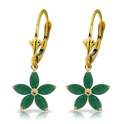 ALARRI 2.8 Carat 14K Solid Gold Leverback Earrings Natural Emerald