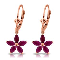ALARRI 2.8 Carat 14K Solid Rose Gold Leverback Earrings Natural Ruby