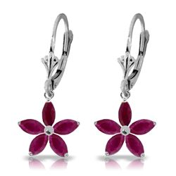 ALARRI 2.8 CTW 14K Solid White Gold Leverback Earrings Natural Ruby