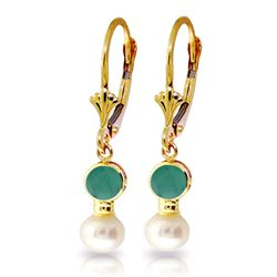ALARRI 5.2 Carat 14K Solid Gold Leverback Earrings Pearl Emerald