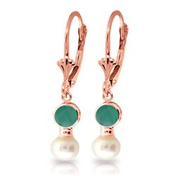 ALARRI 5.2 CTW 14K Solid Rose Gold Leverback Earrings Pearl Emerald