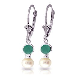 ALARRI 5.2 Carat 14K Solid White Gold Leverback Earrings Pearl Emerald