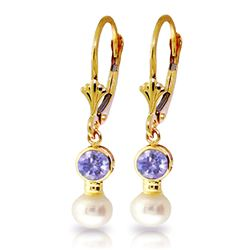 ALARRI 5.2 CTW 14K Solid Gold Leverback Earrings Pearl Tanzanite