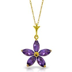 ALARRI 1.4 CTW 14K Solid Gold Tendency To Love Amethyst Necklace