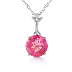 ALARRI 1.15 Carat 14K Solid White Gold Question Yourself Pink Topaz Necklace