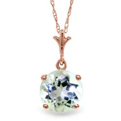 ALARRI 14K Solid Rose Gold Necklace w/ Natural Aquamarine