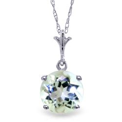 ALARRI 1.15 CTW 14K Solid White Gold Solutions Aquamarine Necklace