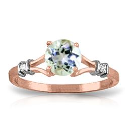 ALARRI 1.02 Carat 14K Solid Rose Gold Cathy Aquamarine Diamond Ring