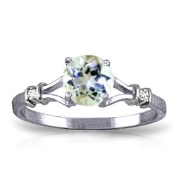 ALARRI 1.02 Carat 14K Solid White Gold Hot Topic Aquamarine Diamond Ring