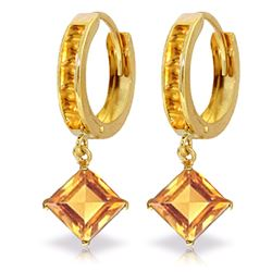 ALARRI 4.4 Carat 14K Solid Gold Hoop Earrings Dangling Citrine
