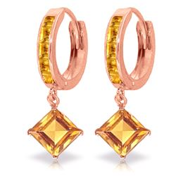 ALARRI 4.4 CTW 14K Solid Rose Gold Hoop Earrings Dangling Citrine