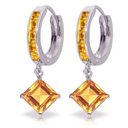 ALARRI 4.4 CTW 14K Solid White Gold Hoop Earrings Dangling Citrine
