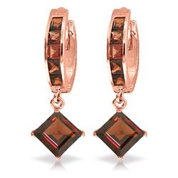ALARRI 4.4 Carat 14K Solid Rose Gold Huggie Garnet Drop Earrings