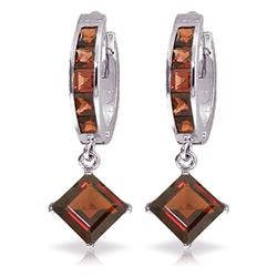 ALARRI 4.4 Carat 14K Solid White Gold Of Garnet And Men Garnet Earrings