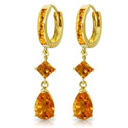 ALARRI 5.62 Carat 14K Solid Gold Huggie Earrings Dangling Citrine