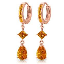 ALARRI 5.62 Carat 14K Solid Rose Gold Huggie Earrings Dangling Citrine