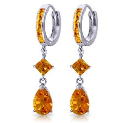 ALARRI 5.62 CTW 14K Solid White Gold Huggie Earrings Dangling Citrine