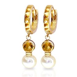 ALARRI 6.15 Carat 14K Solid Gold Huggie Earrings Pearl Citrine