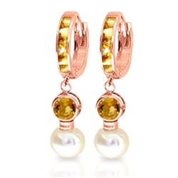 ALARRI 6.15 Carat 14K Solid Rose Gold Huggie Earrings Pearl Citrine