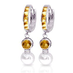 ALARRI 6.15 Carat 14K Solid White Gold Huggie Earrings Pearl Citrine