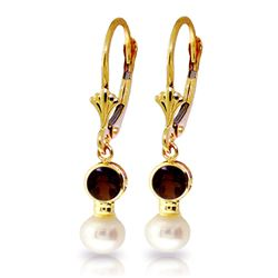 ALARRI 5.2 Carat 14K Solid Gold Leverback Earrings Pearl Garnet
