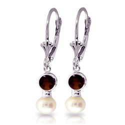 ALARRI 5.2 CTW 14K Solid White Gold Leverback Earrings Pearl Garnet
