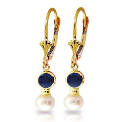 ALARRI 5.2 Carat 14K Solid Gold Leverback Earrings Pearl Sapphire