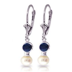 ALARRI 5.2 CTW 14K Solid White Gold Leverback Earrings Pearl Sapphire