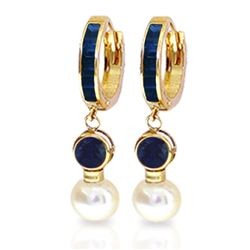 ALARRI 6.65 Carat 14K Solid Gold Huggie Earrings Pearl Sapphire