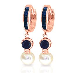 ALARRI 6.65 CTW 14K Solid Rose Gold Huggie Earrings Pearl Sapphire
