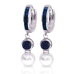 ALARRI 6.65 Carat 14K Solid White Gold Huggie Earrings Pearl Sapphire