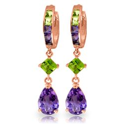 ALARRI 5.38 Carat 14K Solid Rose Gold Huggie Earrings Peridot Amethyst
