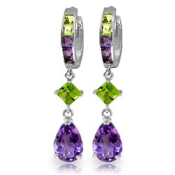 ALARRI 5.38 CTW 14K Solid White Gold Huggie Earrings Peridot Amethyst