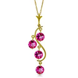 ALARRI 2.25 Carat 14K Solid Gold Depth Pink Topaz Necklace