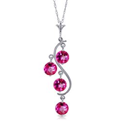 ALARRI 2.25 Carat 14K Solid White Gold Own Delight Pink Topaz Necklace