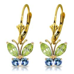 ALARRI 1.24 Carat 14K Solid Gold Butterfly Earrings Peridot Blue Topaz