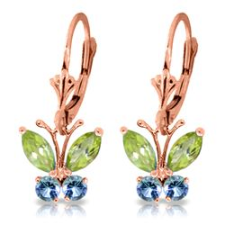 ALARRI 1.24 Carat 14K Solid Rose Gold Butterfly Earrings Peridot Blue Topaz