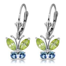 ALARRI 1.24 CTW 14K Solid White Gold Butterfly Earrings Peridot Blue Topaz
