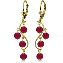 ALARRI 4 Carat 14K Solid Gold Chandelier Earrings Natural Ruby