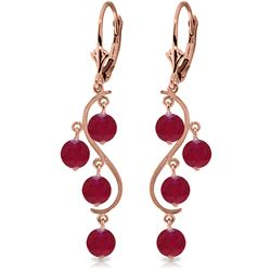 ALARRI 4 Carat 14K Solid Rose Gold Chandelier Earrings Natural Ruby