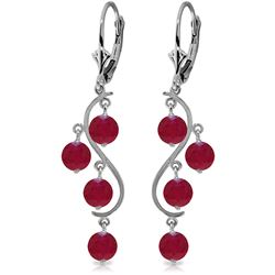ALARRI 4 Carat 14K Solid White Gold Chandelier Earrings Natural Ruby