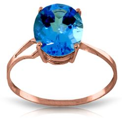 ALARRI 2.2 Carat 14K Solid Rose Gold Opulence Blue Topaz Ring
