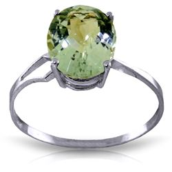 ALARRI 2.2 CTW 14K Solid White Gold Ring Checkerboard Cut Green Amethyst