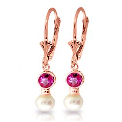 ALARRI 2.7 Carat 14K Solid Rose Gold Leverback Earrings Pearl Pink Topaz