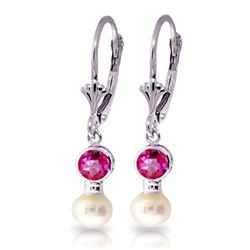ALARRI 2.7 Carat 14K Solid White Gold Leverback Earrings Pearl Pink Topaz